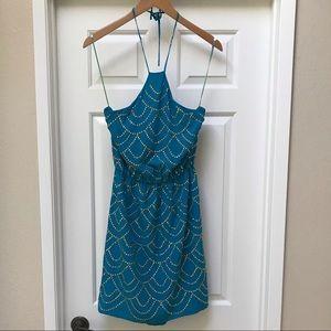 Trina Turk turquoise dress, gold embellishments